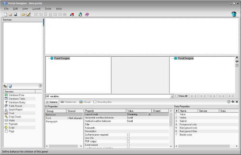 Portal Designer Main UI